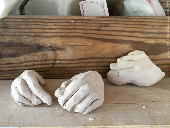 jacky lloyd studio_clay maquettes studies for stone relief sculpture.